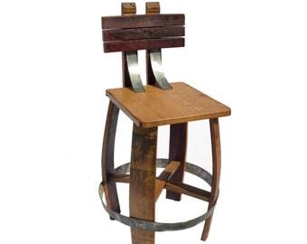 Wine Barrel Stave Stool with back/ Bar Stool With Back/ Barrel Art/ Handcrafted Stool/ Barrel Stave Bar Stool/Bar stool/outdoor furniture/