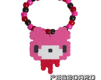 Pink Gloomy Bear Kandi Bracelet