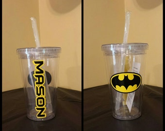 Personalized Batman Kids Acrylic Tumbler