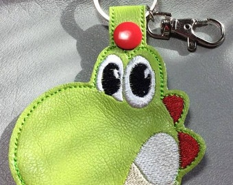 Green Dino Snap Key Fob design Instant Download