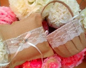 Burlap/hessian matching flower girl basket and ring pillow