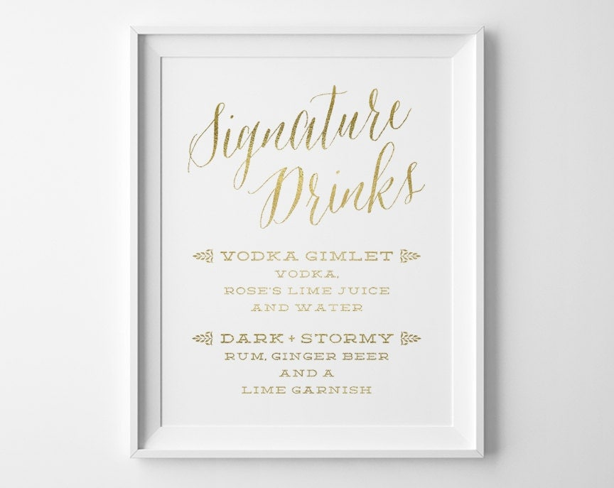 Gold wedding signs wedding signature drinks sign spring zoom junglespirit
