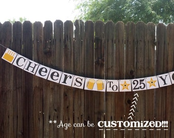 Cheers Birthday Banner / Happy Birthday / 20, 25, 30, 35, 40, 45, 50, 55 60, 65 Years / Decorations  Age Specific/ Beer Mugs