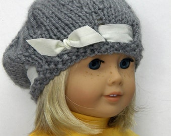 18 inch Doll Clothes, Girl Doll Clothes,  grey hand knitted cloche hat
