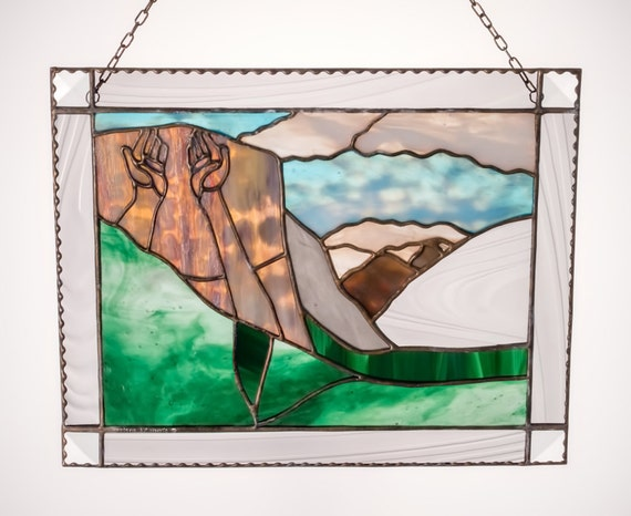 El Capitan Yosemite National Park Inspirational Stained Glass Panel Made in Hawaii Deesigns by Harris Free Gift Wrap
