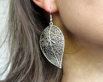 Silver leaf earrings, Large leaf earrings, Silver earrings, Boho style earrings