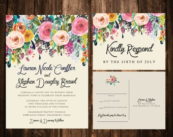 Bold Bohemian Floral Wedding Invitations; Printable OR set of 25