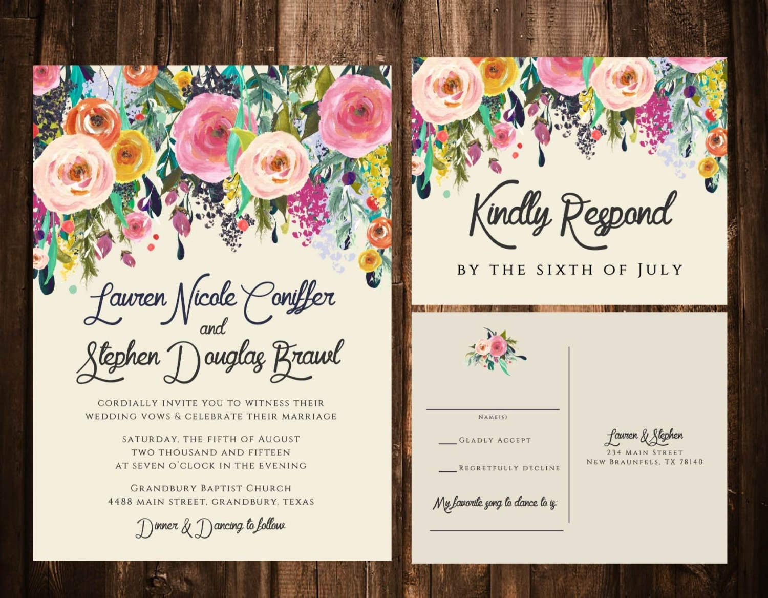 Wedding Invites Pinterest: Bold Bohemian Floral Wedding Invitations Printable OR Set Of
