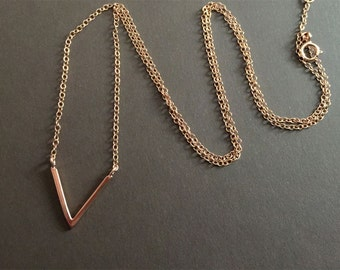 V Necklace, Rose Gold chevron necklace, Triangle Necklace, Sterling Silver Necklace, Simple Necklace , Geometric Necklace