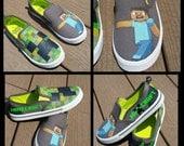 Minecraft Shoes~faux Vans~ Creeper Steve KIDS