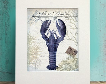 Blue lobster etsy for French beach decor