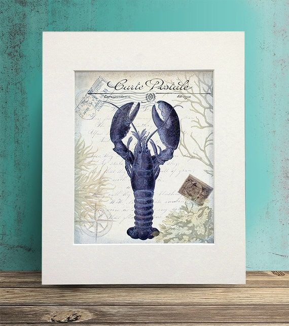 Seaside Postcard Lobster Print on Cream - french décor beach house wall art Coastal Décor beach house décor Nautical Print Nautical décor