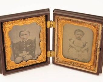 Brother & Sister w/Military Belt Buckle-Original Civil War Tin Type photo c.1860