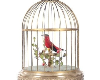 Red Bird Singing in Cage-Vintage German Gilt Brass Music Box