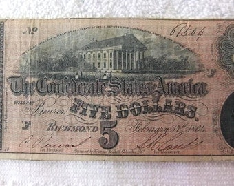 Confederate Currency1864  Civil War Confederate Currency Civil War Vintage 5 Dollar Fine Grade Richmond Bill