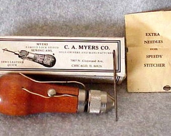 Vintage C.A. Myers Co Famous Lock Stitch Sewing AWL Like New