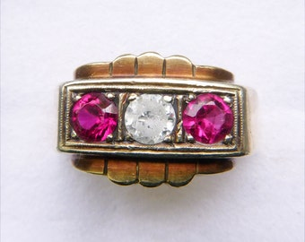 Art Deco 3 stone red gem ruby unisex or men's ring 10k yellow gold size 10