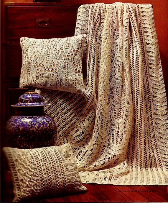 Lace Afghan Knitting Pattern : Frost Flower Knitted Lace Afghan with Popcorn by MomentsInTwine