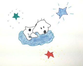 Puppy in Cloud, Congrats on New Dog, Card, Lilymoonsigns, Blue White Orange