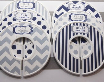 Custom Baby Closet Dividers Navy Nursery Gray Nursery Chevron Stripes Dots Clothes Organizers Baby Shower Gift Baby Boy Gift CD310C