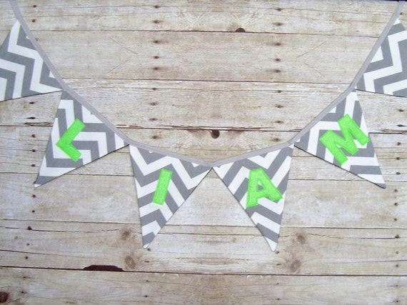Gray Chevron Name Banner, chevron name banner, choose your colors, letter banner, name bunting, photo prop