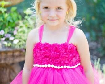 Flower girl dress, fuchsia size 6-8 children