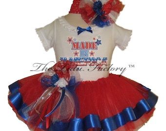 4th of July Tutu . Infant & Toddler . MADE IN AMERICA Red with RIbbon Tutu Set