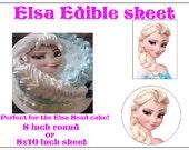 ELSA Head EDIBLE image cake topper decoration  birthday Custom  princess Frozen Fondant Sugar sheet
