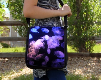 Purple Moon Jellyfish Large Messenger / Shoulder Bag