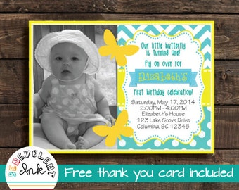 Butterfly First Birthday Invitation - Printable 1st Birthday Party Invite - First Birthday Girl - Butterfly Theme Birthday Party