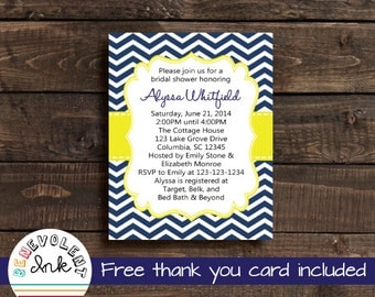 Chevron Bridal Shower Invitation - Navy Blue and Yellow Wedding Shower Invite - Printable Couples Shower Invitation with FREE Thank You Card