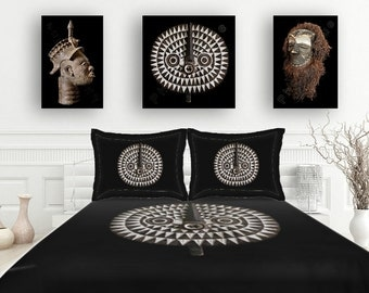 3-Piece Set - Duvet Cover with Matching Shams - Brushed Polyester / Featuring Exclusive Bobo Bwa Sun Mask Design / Tribal Art–African Art