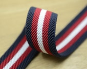 "1.5"" 38mm wide  Vintage Thick Striped Elastic, Cotton Elastic -1 Yard"
