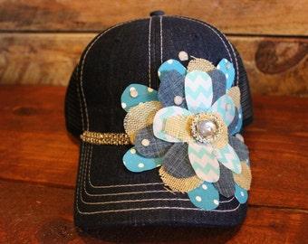 Denim Floral Hat