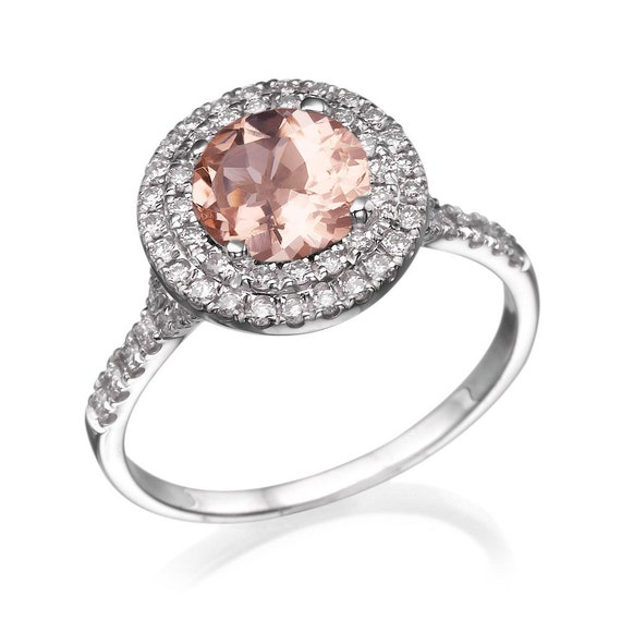 morganite ring 14k white gold engagement ring halo