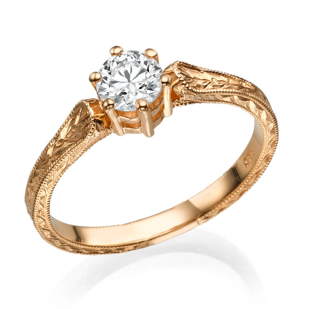 14k Rose Gold Engagement Ring, Hand Engraved Ring, 07 Ct 🔎zoom