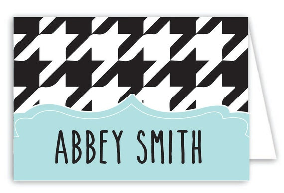 Personalized Houndstooth Folded Note Cards - Set of 30 Monogram Notes