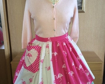 Pink Flamingos Rockabilly 1940s & 1950s style Pinny Apron