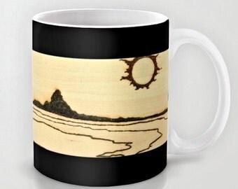 Sunscape / Classy Exclusive Solar Art- Solar Pyrography- Solar Etched Design / Ceramic Beverage Mug - Coffee, Tea, Hot Toddy, etc