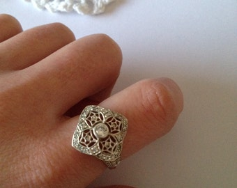 Vintage Art Nouveau Sterling Silver CZ Ring