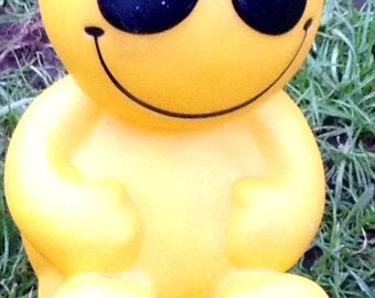 Vintage 1970s Retro Bright Yellow Novelty Money Bank - Advertising Jelly Babies