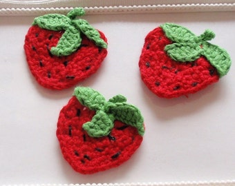 3 Crochet strawberry applique CH-058