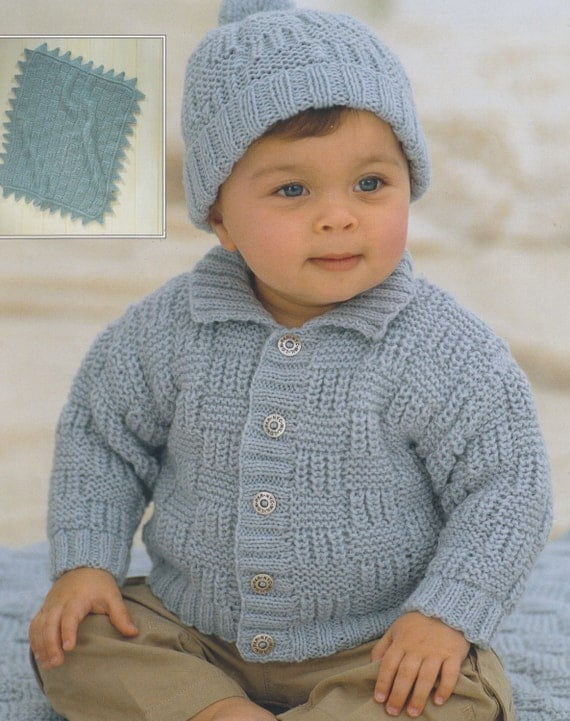 baby child knitting pattern cardigan pompom hat and blanket in