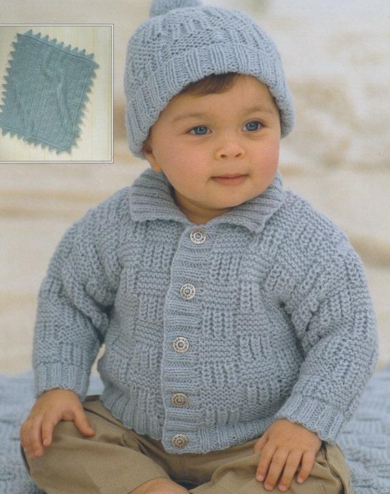Knitting Pattern Blanket Cardigan : baby child knitting pattern cardigan pompom hat and blanket in