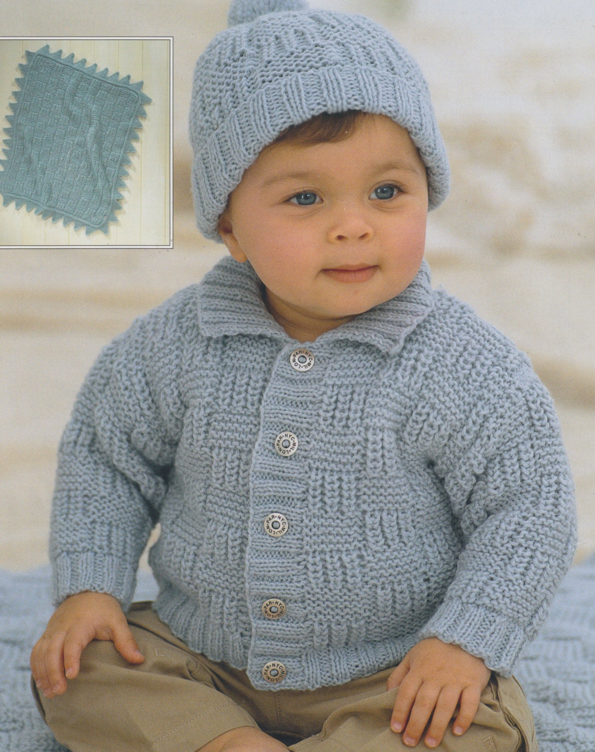 Knitting Pattern For Age : baby child knitting pattern cardigan pompom hat and blanket in