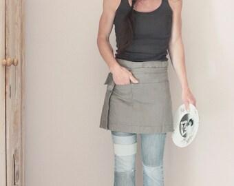 Grey colored linen half apron, Pre washed bistro apron, Eco friendly