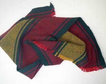 Striped towel handmade hostess gift red gold and dark green tea towel