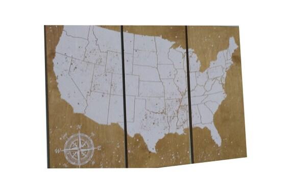 USA Push Pin Travel Map Wedding Gift Anniversary Gift ...