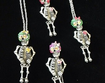 Skelly's;skeletons;necklace;day of the dead;costume;cosplay;Halloween;children;kids;articulated;miniature;puppet;