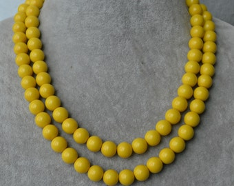 double strand yellow pearl Necklace,17-18 inch 10mm glass Pearl Necklace,Wedding Necklace,bridesmaid necklace,yellow color bead necklace